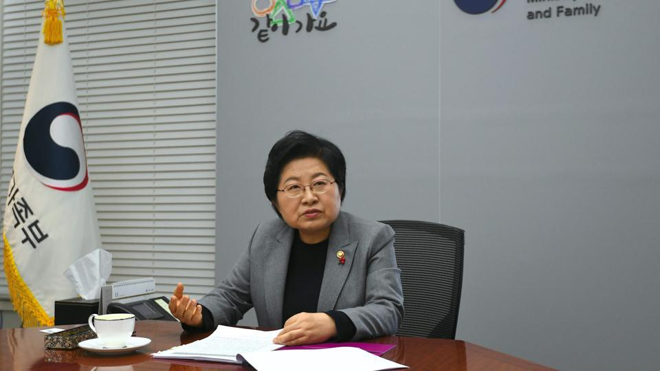 This picture taken on November 29, 2017 shows South Korea's Family Minister Chung Hyun-Back during an interview with AFP at her office in Seoul.