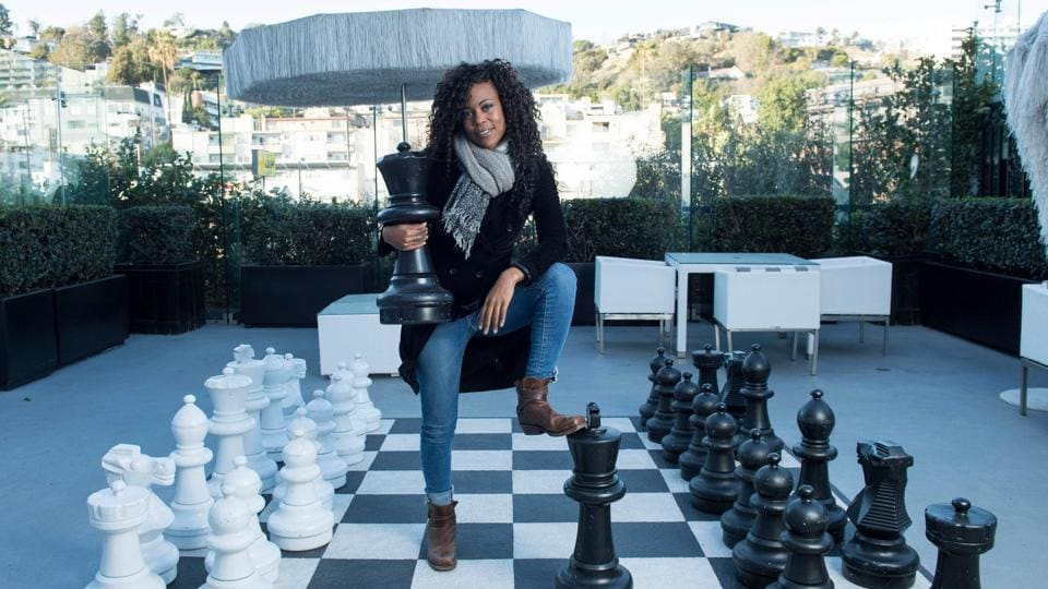 "Hannah Beachler, production designer, poses for a picture in West Hollywood, California. Beachler has designed Wakanda, the ""Black Panther"" fictional African home and world and is the only black woman at the top of her field. (Valerie Macon / AFP)"