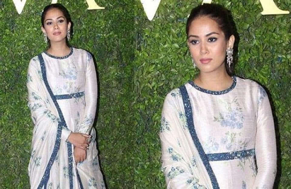 Mira Rajput Kapoor's floor-sweeping full-sleeved anarkali came with a matching floral dupatta. (Instagram/ Shanatic_Aakif)