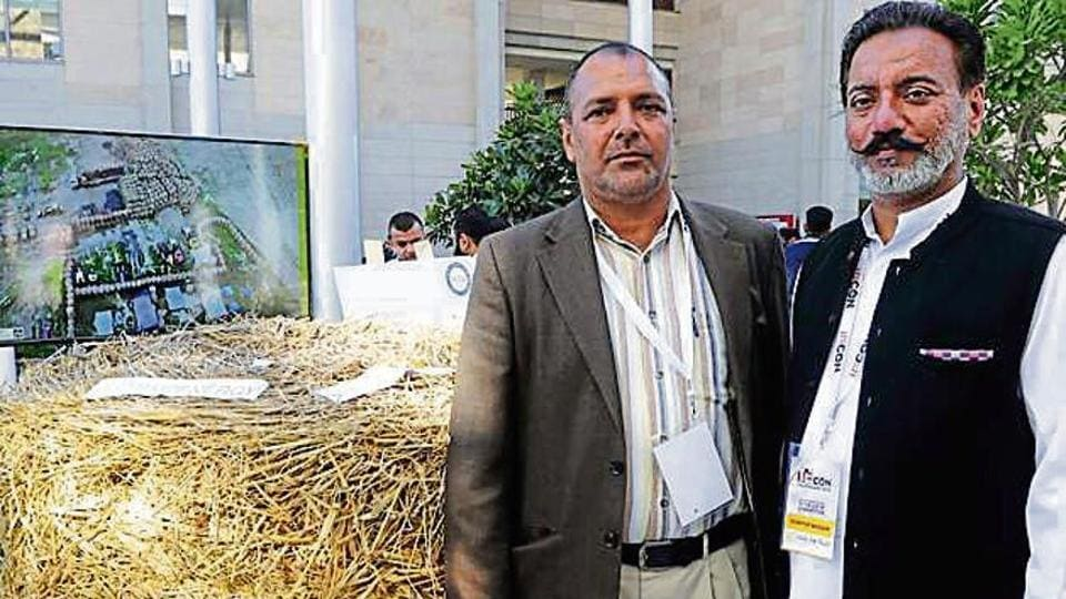 Kamaljit Singh and Sandeep Singh on the sidelines of a conference at Indian School of Business, Mohali, on Thursday.