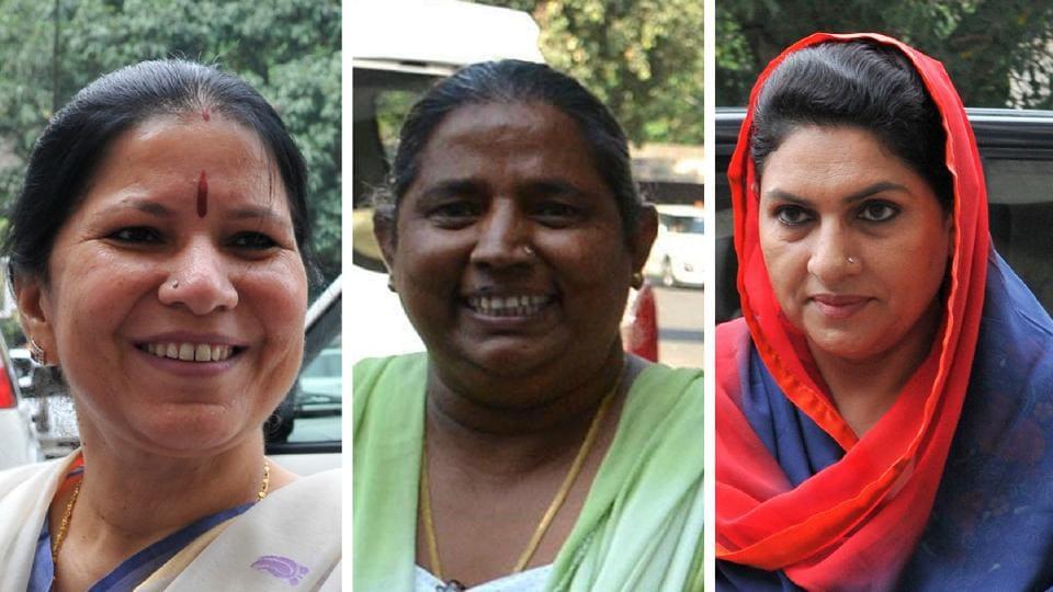 (Left to right) Geeta Bhukkal, Shakuntala Khatak and Naina Chautala.