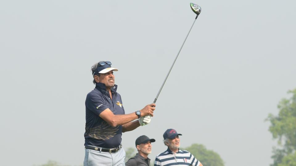 Kapil Dev tees off during the Noida leg qualifier of the National Finals of MercedesTrophy 2018.