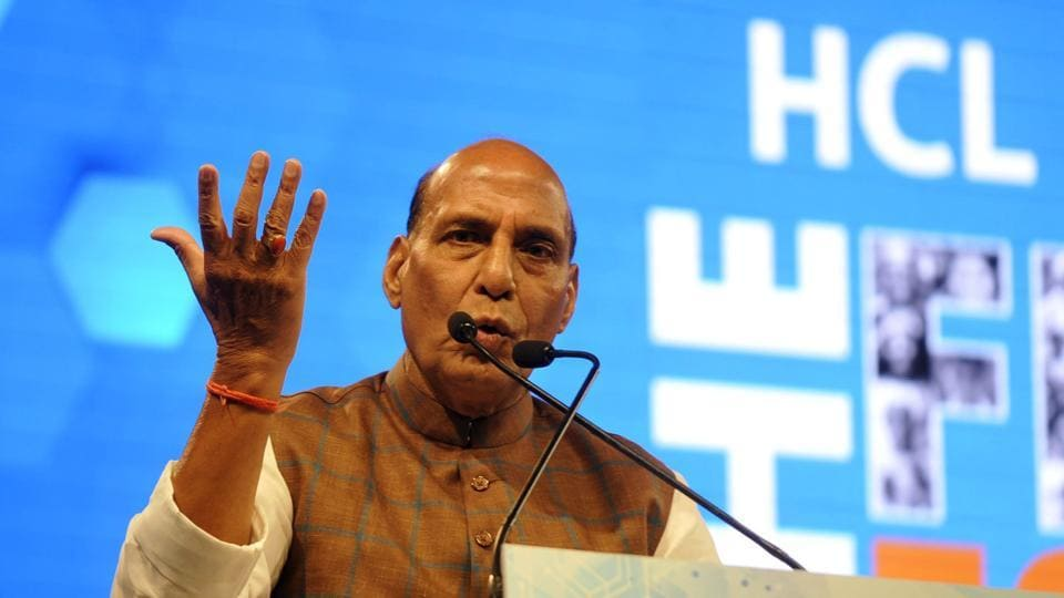 Union home minister Rajnath Singh at the HCL Grant 2018 where three NGOs were awarded ₹15 crore.