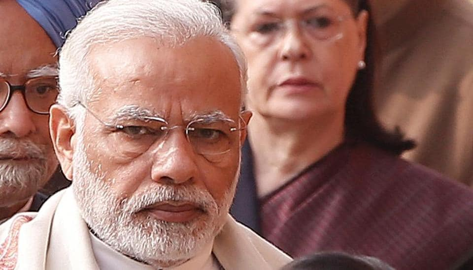 Prime Minister Narendra Modi with UPAchairperson and Congress leader Sonia Gandhi on the anniversary of the December 2001 parliament attack in New Delhi, on December 13, 2017.