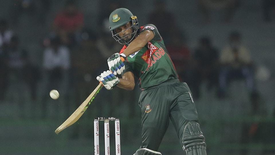 Bangladesh captain Mahmudullah plays a shot during their Twenty20 International against India in the Nidahas triangular series in Colombo on Thursday.