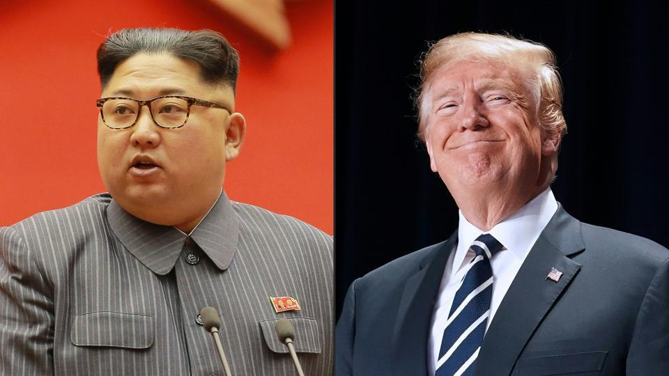 North Korean leader Kim Jong-Un during the 5th Conference of the Workers' Party of Korea Cell Chairpersons and a file picture showing US President Donald Trump in Washington, DC.