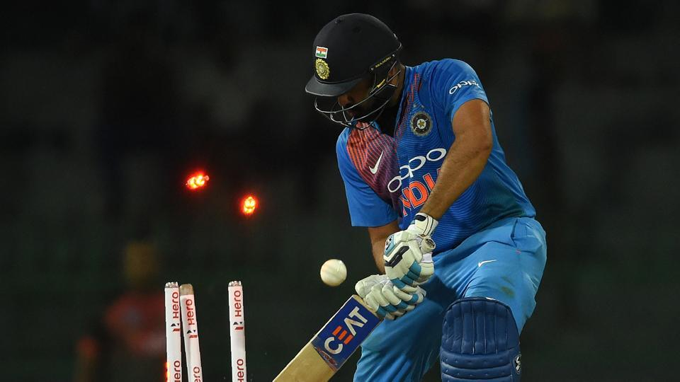 Indian cricket team stand-in captain Rohit Sharma gets dismissed by Bangladesh cricket team's Mustafizur Rahman during the second T20I of the tri-nation Nidahas Trophy at the R Premadasa Stadium in Colombo on Thursday.