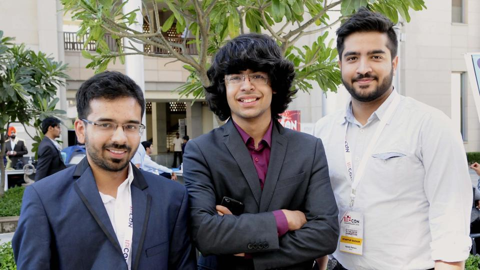 (From left) Vishad Tomar, Lakshit and Ayush Pahwa at TieCon Chandigarh at the Indian School of Business in Mohali on Thursday.
