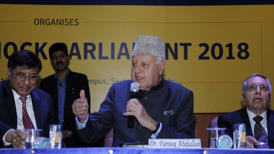 Srinagar MP and former chief minister of Jammu and Kashmir Farooq Abdullah was in Noida on Friday to attend a mock parliament session organised by students of Amity University in Sector 125.