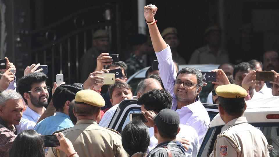 Karti Chidambaram, son of former finance minister P Chidambaram was produced by the CBI at Patiala house Court in connection with its probe in the INX media case in New Delhi on March 6, 2018. (Raj K Raj / HT Photo)