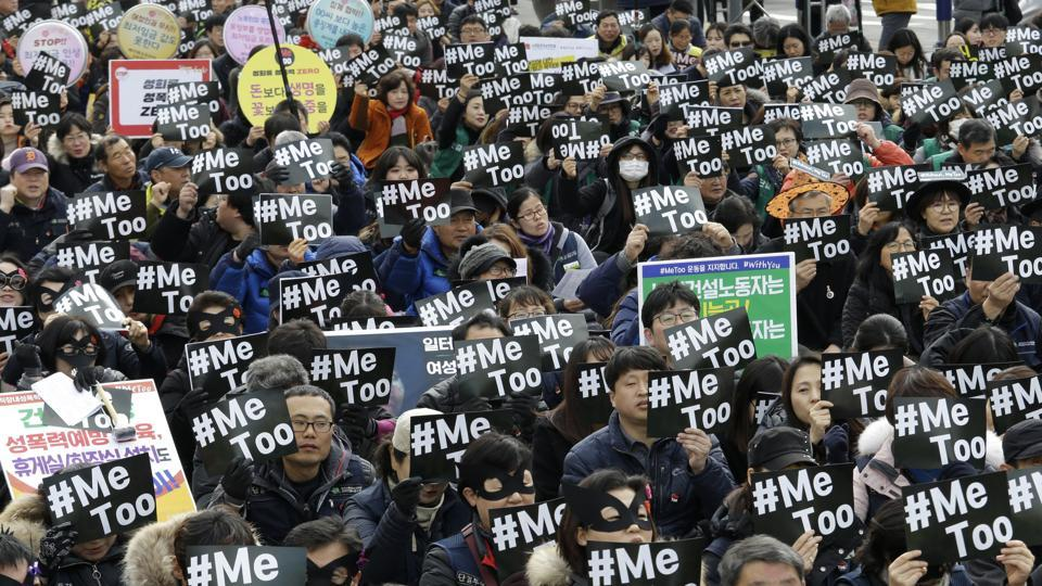 Demonstrators supporting the MeToo movement in black stage a rally to mark the International Women's Day in Seoul, South Korea on March 8.
