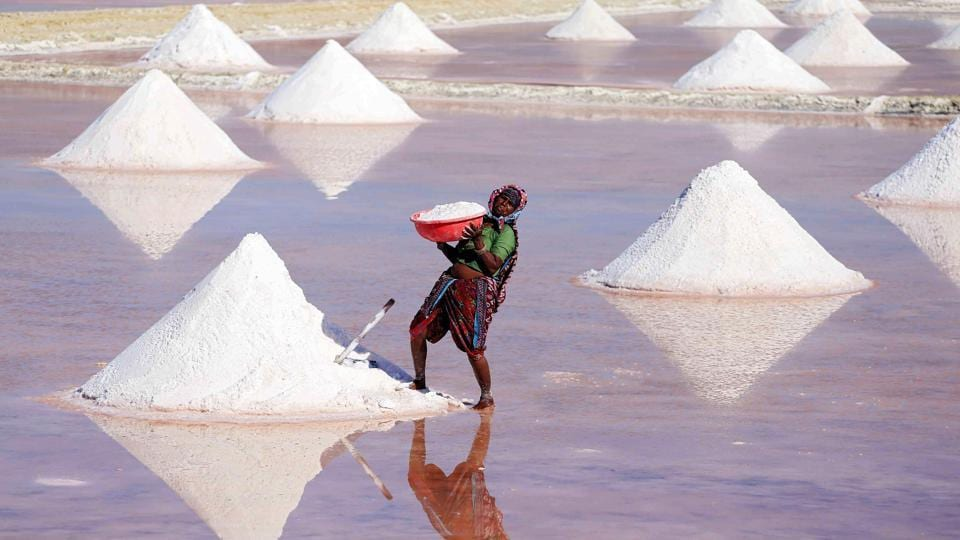 A labourer works on a salt pan in the outskirts of Nagaur district, Rajasthan on March 7, 2018. (Himanshu Sharma / AFP)