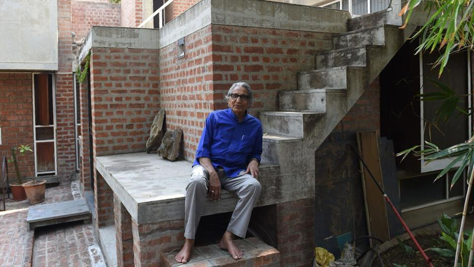 Indian architect Balkrishna Doshi, 90, winner of the Pritzker Architecture Prize, poses at his residence in Ahmedabad on March 8, 2018. He became the first Indian to win the Pritzker Prize, considered architecture's 'Nobel' equivalent. (Sam Panthaky / AFP)