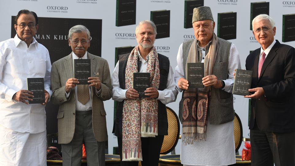 "(L to R) P. Chidambaram, Former union minister of finance, Aziz Mushabber Ahmadi, Former chief justice of India, Najeeb Jung, Former Lt. Governor of Delhi, Farooq Abdullah, Former chief minister of Jammu and Kashmir, and Salman Khurshid, Former cabinet minister of external affairs, and author of the book ""Triple Talaq"" published by Oxford University Press at Leela Hotel in New Delhi on March 8, 2018. (Raj K Raj / HT Photo)"