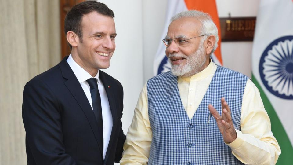 French President Emmanuel Macron and PM Narendra Modi at the Hyderabad House on Saturday, March 10, 2018.