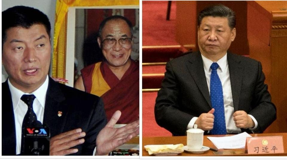 Tibetan Prime Minister-in-exile Lobsang Sangay and Chinese President Xi Jinping .