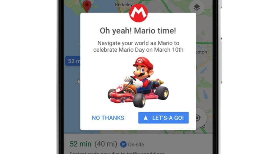 google maps kart You can now replace navigation arrow on Google Maps with Mario