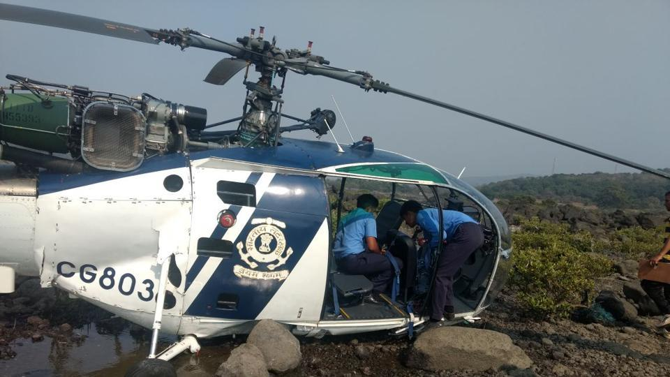 Indian Coast Guard helicopter crash lands in Maharashtra's Raigad, crew members rescued