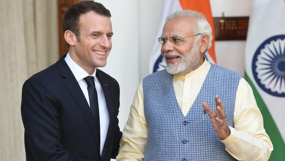 The French President later met PM Modi at Hyderabad House where the two held bilateral talks. French and Indian companies signed contracts worth €13 billion ($16 billion) on the first day of Macron's visit to India on Saturday, the French presidency said in a statement. (Mohd Zakir / HT Photo)