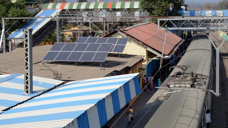 Solar panel installations at the Asangoan station in Mumbai. The ISA is working for deployment of over 1,000 GW of solar energy and mobilising more than $ 1 trillion into solar energy by the year 2030.