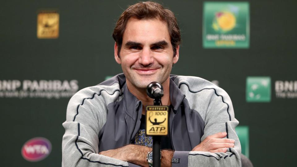 Roger Federer of Switzerland fields questions from the media at a press conference during the BNP Paribas Open at the Indian Wells Tennis Garden on March 8, 2018 in Indian Wells, California.