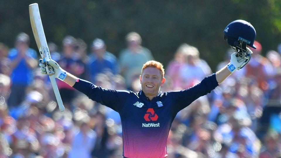 Jonny Bairstow celebrates his century during the fifth and final ODI between New Zealand and England at Hagley Oval in Christchurch on March 10, 2018.