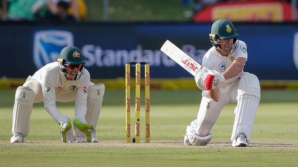 South Africa batsman AB de Villiers plays a shot on Day 2 of the second Test against Australia at St. George's Park in Port Elizabeth on Saturday. Get full cricket score of the South Africa vs Australia 2nd Test, Day 2, in Port Elizabeth here.