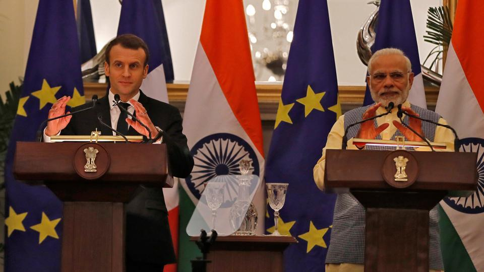 French President Emmanuel Macron and Prime Minister Narendra Modi attend a signing of agreements ceremony at Hyderabad House in New Delhi, India, March 10, 2018.