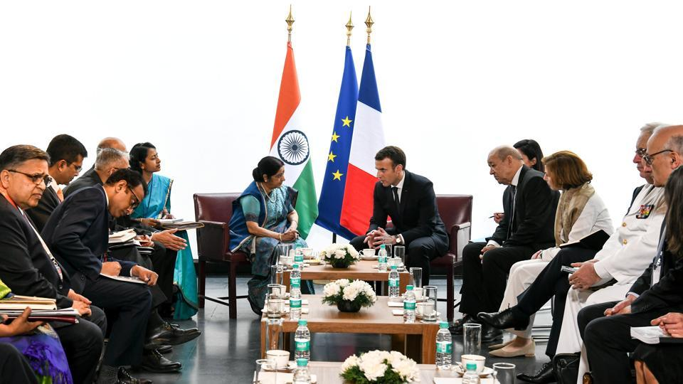 Macron later met External Affairs Minister Sushma Swaraj at Alliance Francaise cultural centre. The two discussed enhancement of bilateral ties and partnership in trade and investment, defence and security, culture, education and people-to-people ties, MEA spokesperson Raveesh Kumar tweeted. (Chandan Khanna / Pool / REUTERS)