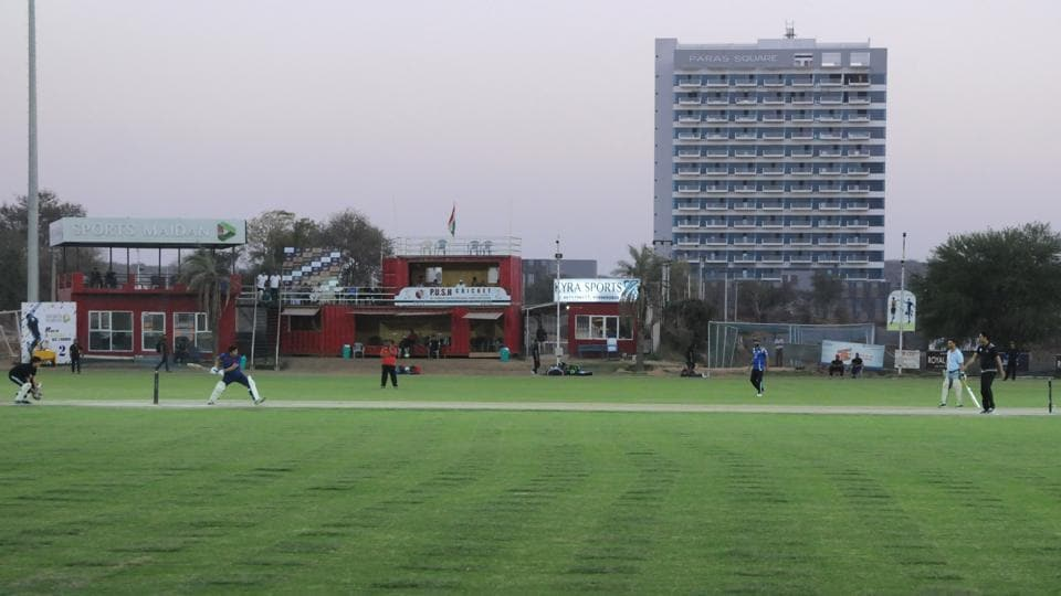 Sports Maidan, a corporate venture in Sector 58, has a cricket ground (above), a football ground, tennis courts, and a facility for cage football.