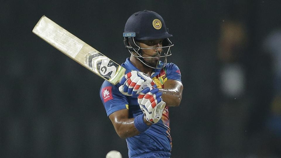 After being asked to bat, Danushka Gunathilaka (in pic) and Kusal Mendis got Sri Lanka off to a blistering start before the former fell to Mustafizur Rahman in the fifth over.  (AP)