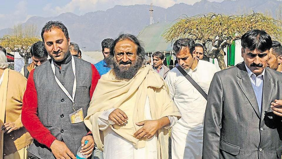Founder Art of Living Sri Sri Ravi Shankar leave after a programme 'Paigham-e Mohabbat' at SKICC on the banks of Dal Lake in Srinagar,india on March 10, 2018.