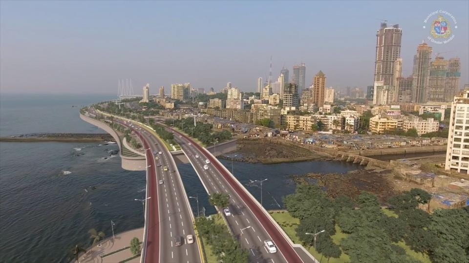 A video grab of the Mumbai Coastal Road Project from Kandivli to Princess Street. While there were no big-ticket infrastructure announcements, Mungatiwar said the tender process for the Rs7,502 crore Versova-Bandra sea link is currently in progress.