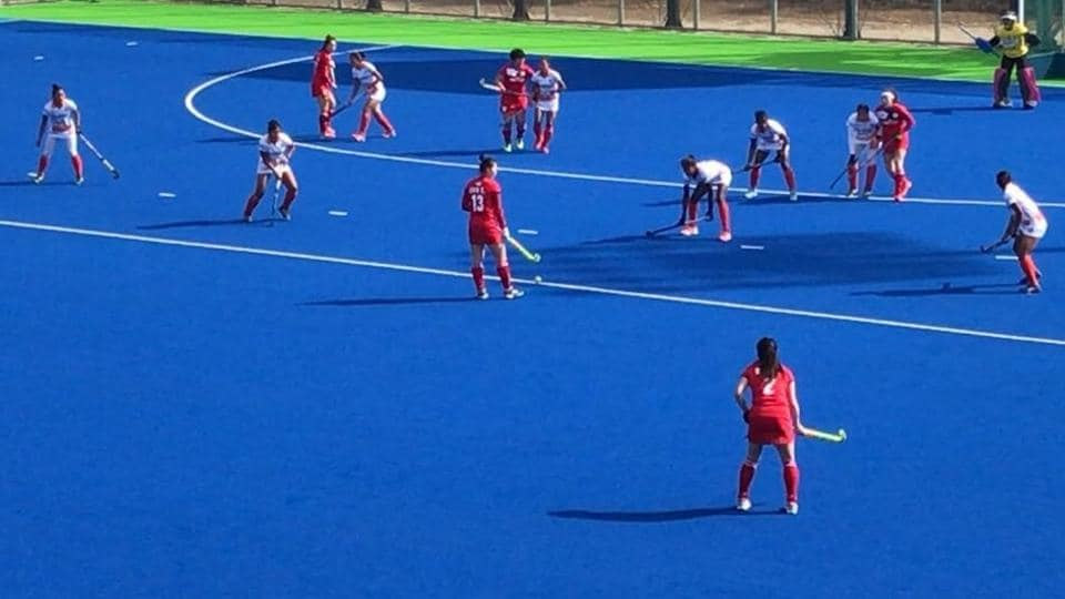 The Indian women's hockey team in action against South Korea in the last match of a five-game series.