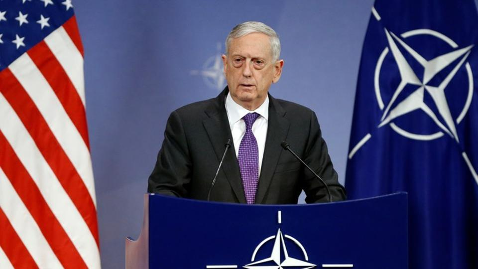 US Secretary of Defence Jim Mattis addresses a news conference during a NATO defence ministers meeting at the Alliance headquarters in Brussels.