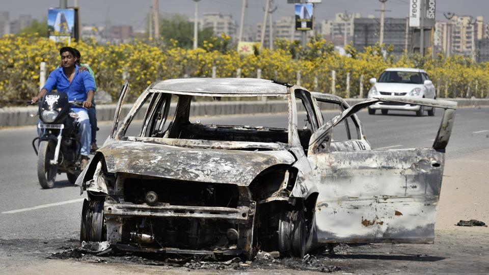 An unidentified man was charred to death after a car caught fire near Ullahawas village on Saturday night, in Gurgaon
