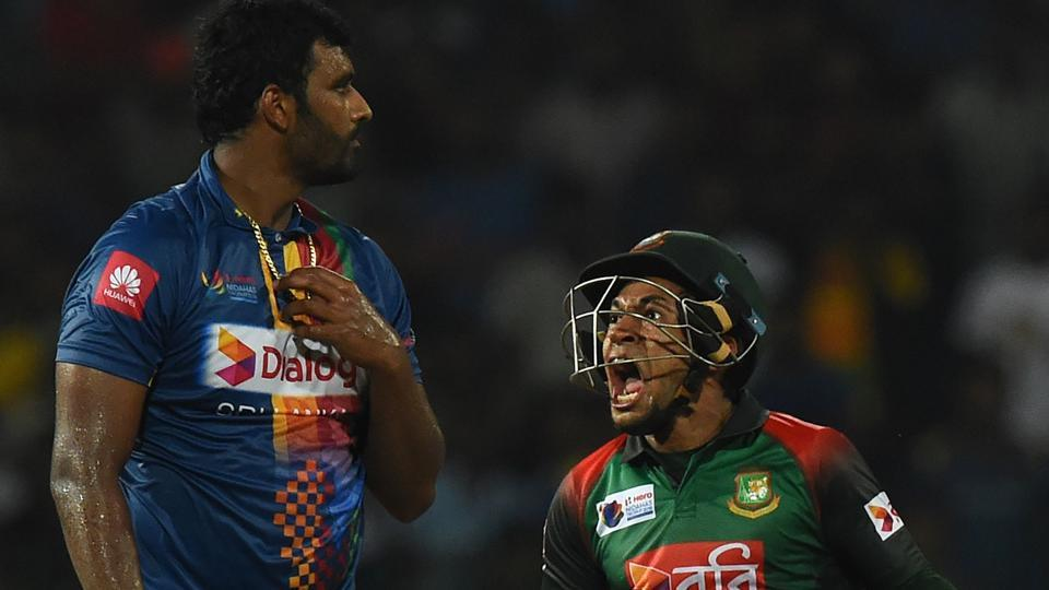Bangladesh cricketer Mushfiqur Rahim celebrates his team's five wicket victory over Sri Lanka after the third T20 cricket match of the tri-nation Nidahas Trophy at the R. Premadasa stadium in Colombo on March Sunday.