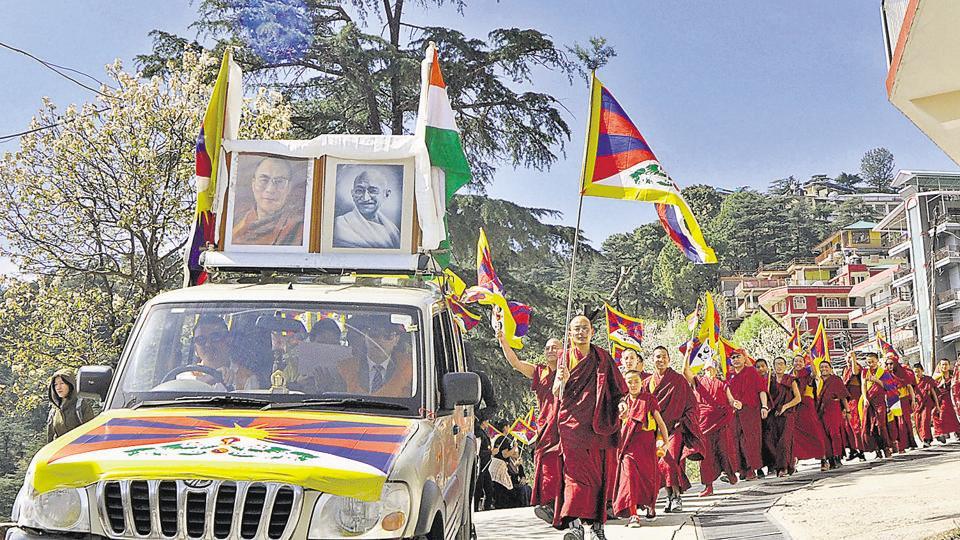 Tibetans during a rally at McLeodganj,Dharamshala, on Saturday.