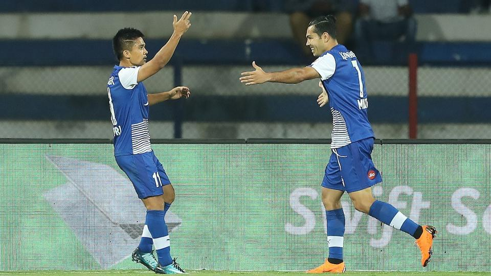 Sunil Chhetrii celebrates scoring during the first semi-final 2nd leg of the Indian Super League between Bengaluru FC and FC Pune City held at the Sree Kanteerava Stadium in Bangalore. Catch highlights of Bengaluru FCvs FC Pune City, Indian Super League semi-final here.
