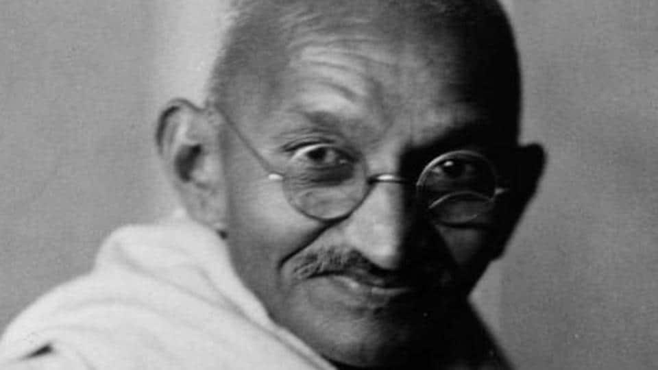 A portrait of Indian nationalist leader Mohandas Karamchand Gandhi, popularly known as Mahatma Gandhi.