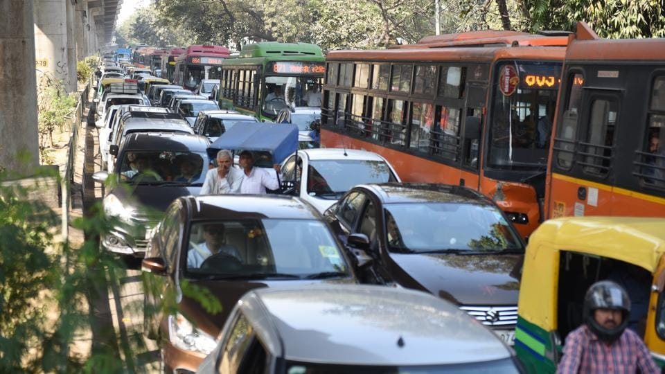 Vehicles stuck in traffic jam in Delhi's Karol Bagh area on March 5.