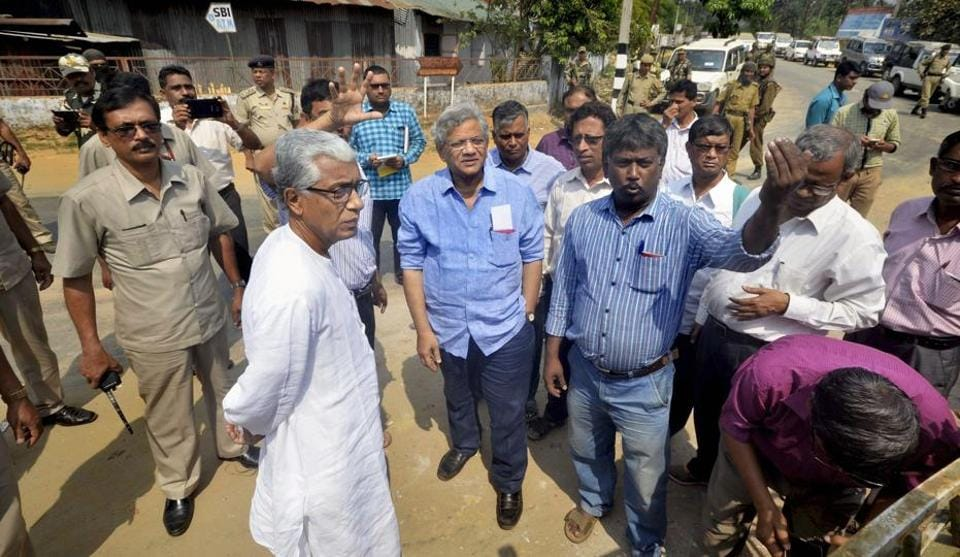 CPI(M) general secretary Sitaram Yechury and Tripura's former chief minister Manik Sarkar on Sunday visiting  the site where Lenin's statue was toppled in Belonia.