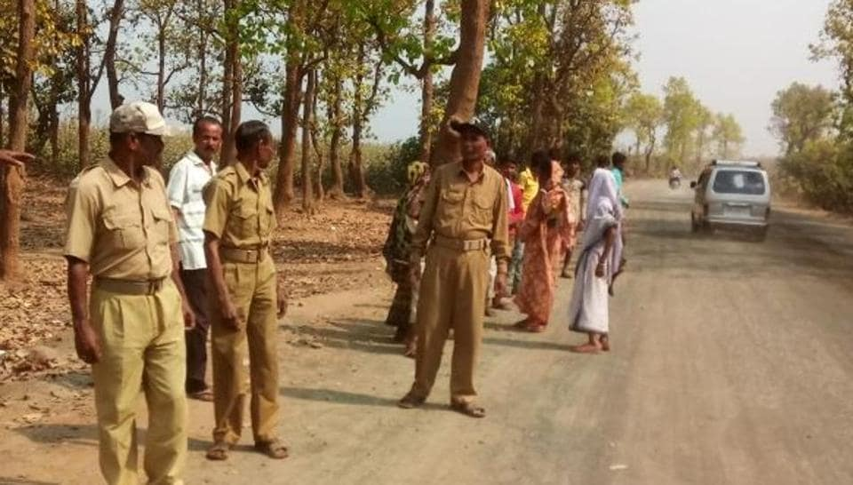 Forest Protection Committee personnel patrolling village roads at Lalgarh in West Bengal