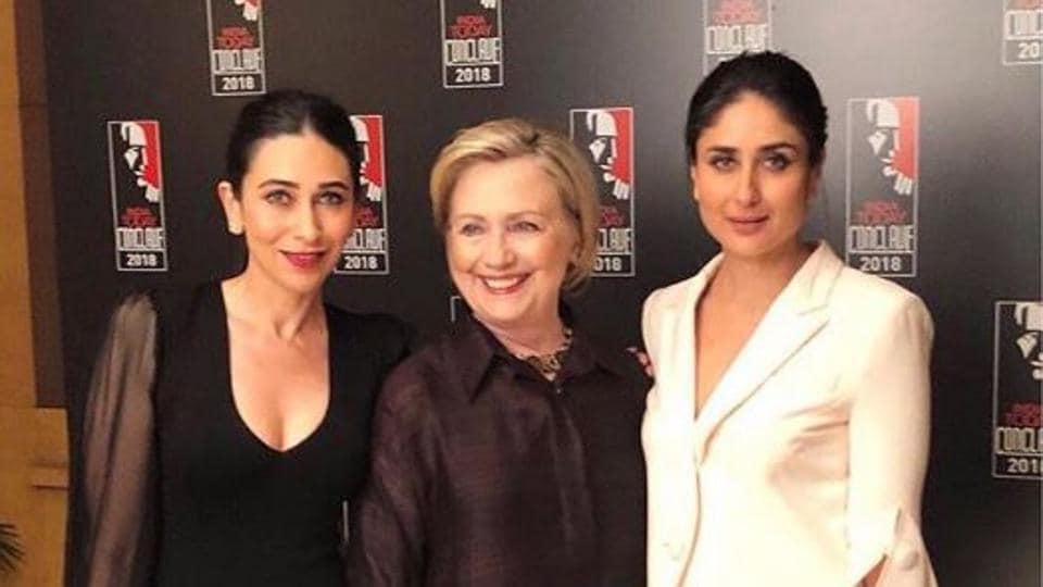 Actors Karisma Kapoor and Kareena Kapoor Khan met former first lady of the United States, Hillary Clinton, at the India Today Conclave 2018 on Saturday. (Instagram/ tanghavri)