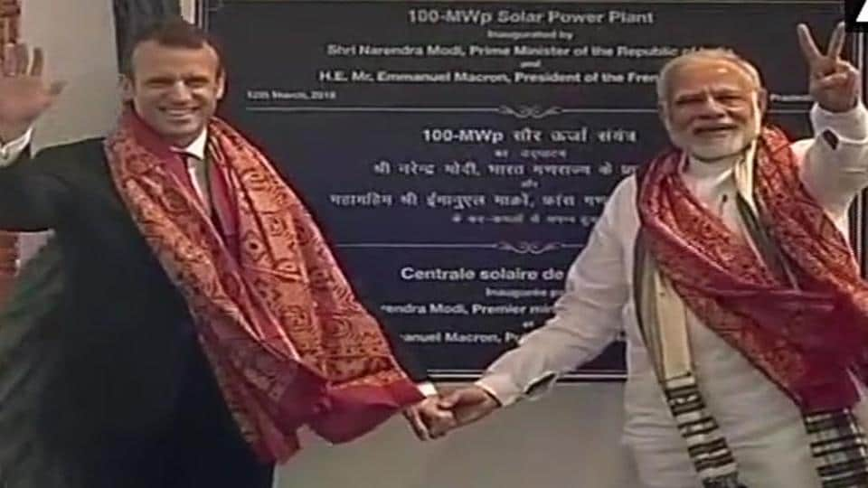 Prime Minister Narendra Modi and French President Emmanuel Macron inaugurate the Solar power plant in Mirzapur