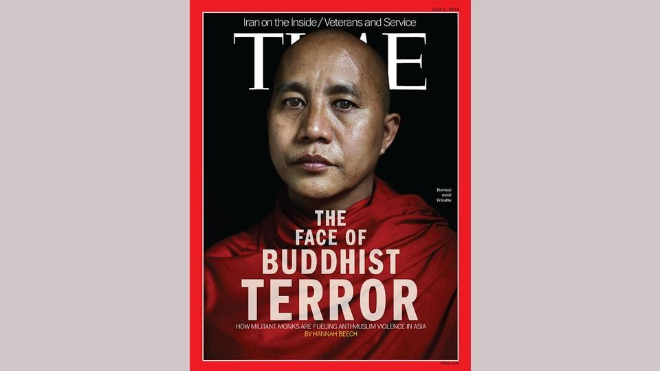 This illustration picture shows a copy of the July 1 issue of Time magazine carrying a picture of controversial Myanmar monk Wirathu on its cover in Bangkok.