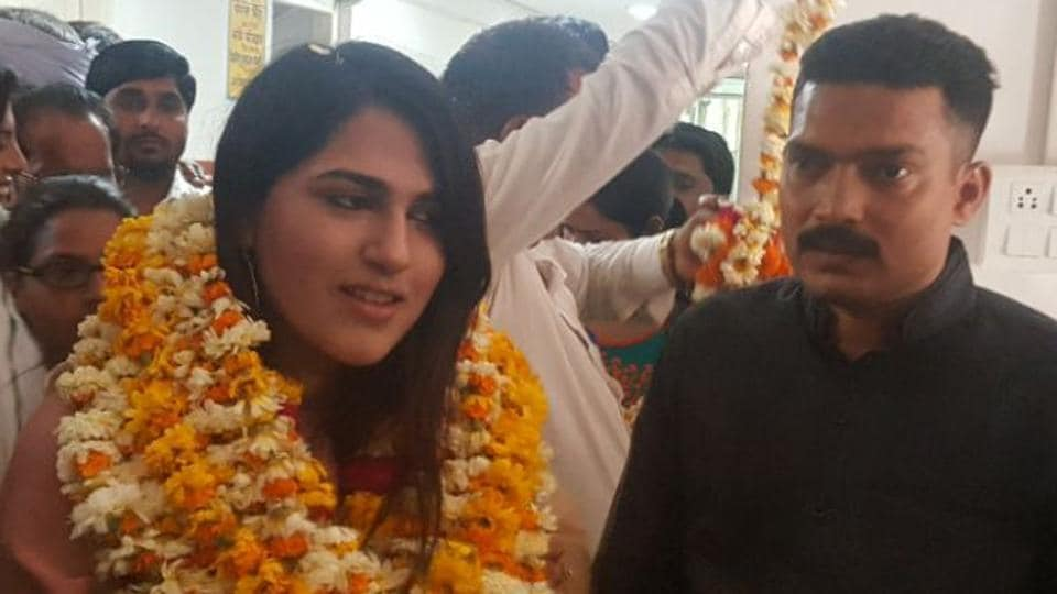 MBBS student Shahnaaz Khan after taking oath as a sarpanch in Bharatpur on Monday.