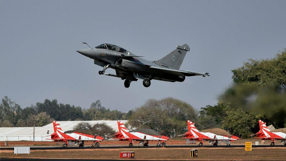 A French fighter aircraft Rafale takes off on the third day of the 11th biennial edition of AERO INDIA 2017 at Yelahanka Air base in Bengaluru.