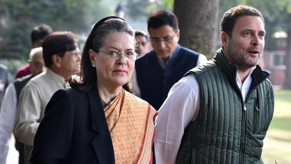 Congress President Rahul Gandhi with Sonia Gandhi and other leaders arrives to preside the party's 'Steering Committee' meeting in New Delhi.