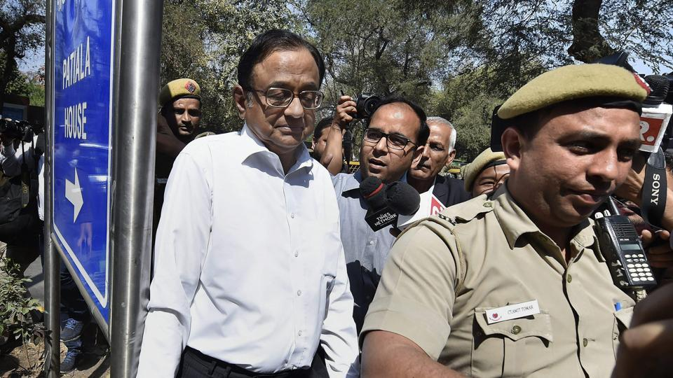 Former finance minister P Chidambaram arrives at Patiala House Court in New Delhi